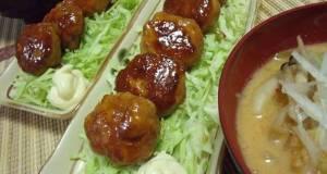 Fluffy Teriyaki Tsukune with Wheat Gluten and Chicken Breast