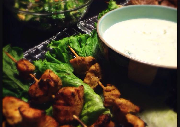 Green curry chicken kebabs with Minty yogurt sauce