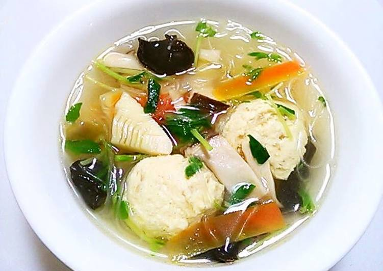 Chinese Soup with Cellophane Noodles and Fluffy Light Chicken Meatballs