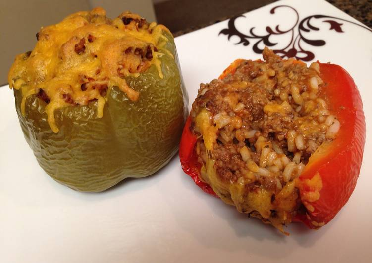Ground Beef (or Turkey) Stuffed Bell Peppers