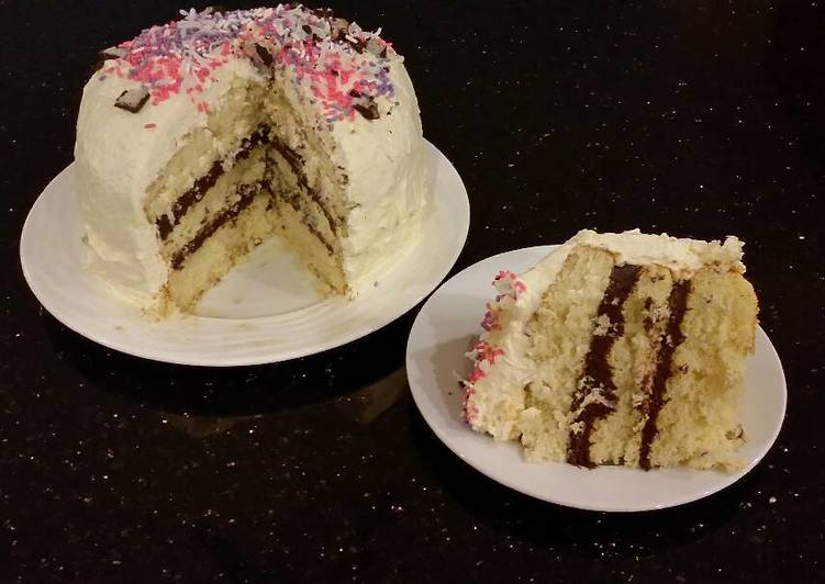Vanilla Layer Cake with Whipped Chocolate Ganache Filling and Whipped Coconut Cream Frosting