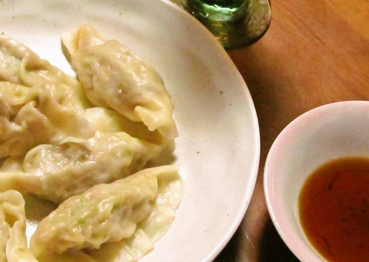 Boiled Gyoza Dumplings With Slippery Smooth Homemade Skins