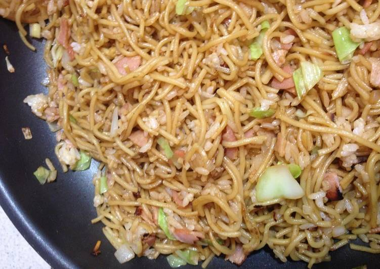 From Kansai Our Familys Sobameshi - Yakisoba Noodles with Rice Simple
