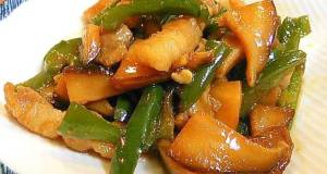 Sweet  Savory Shiitake Mushroom Green Pepper and Pork Belly Stir-fry