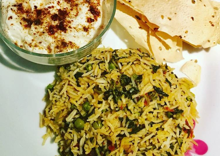 Methi leaves / fenugreek leaves rice