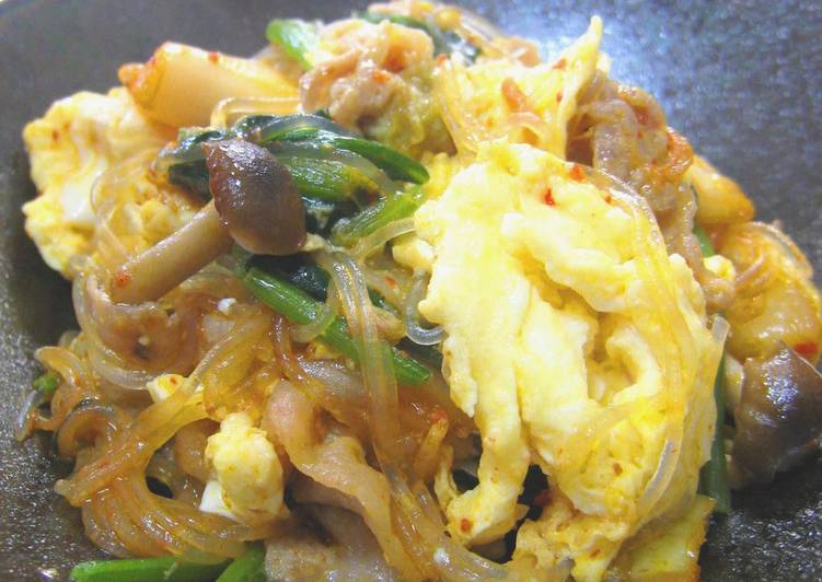 Pork Egg Spinach Glass Noodles  Kimchi Stir-fry