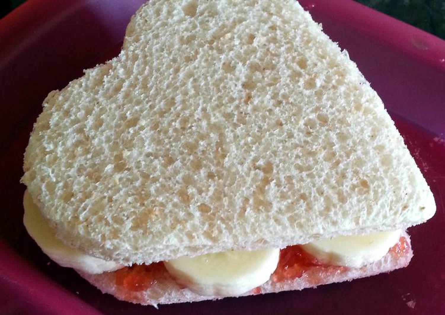 Banana and Jam Heart Sandwich