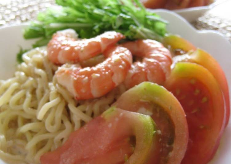 Shrimp and Tomato Cold Noodles with Sesame Sauce