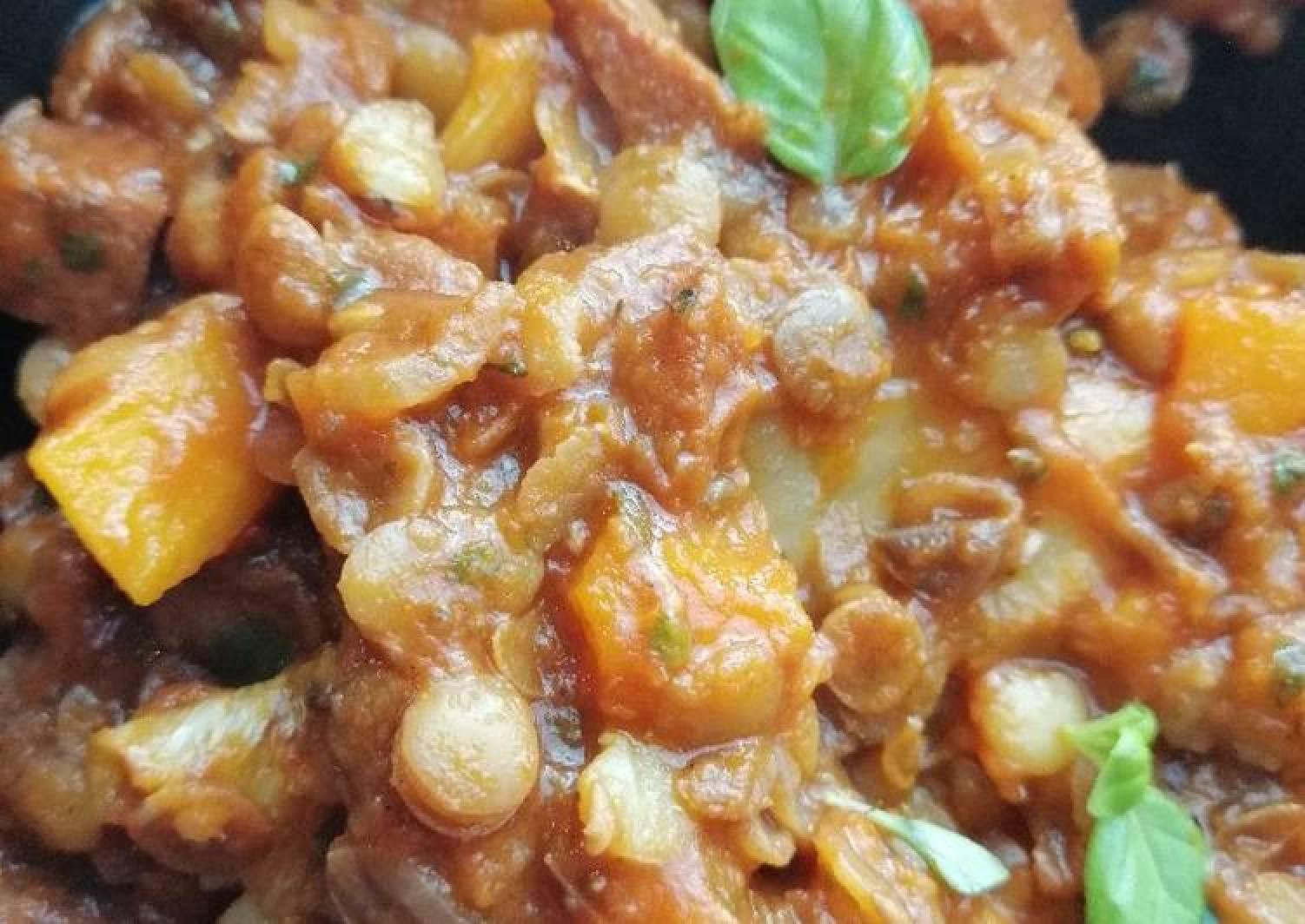 Butternut squash, lentil and chorizo casserole
