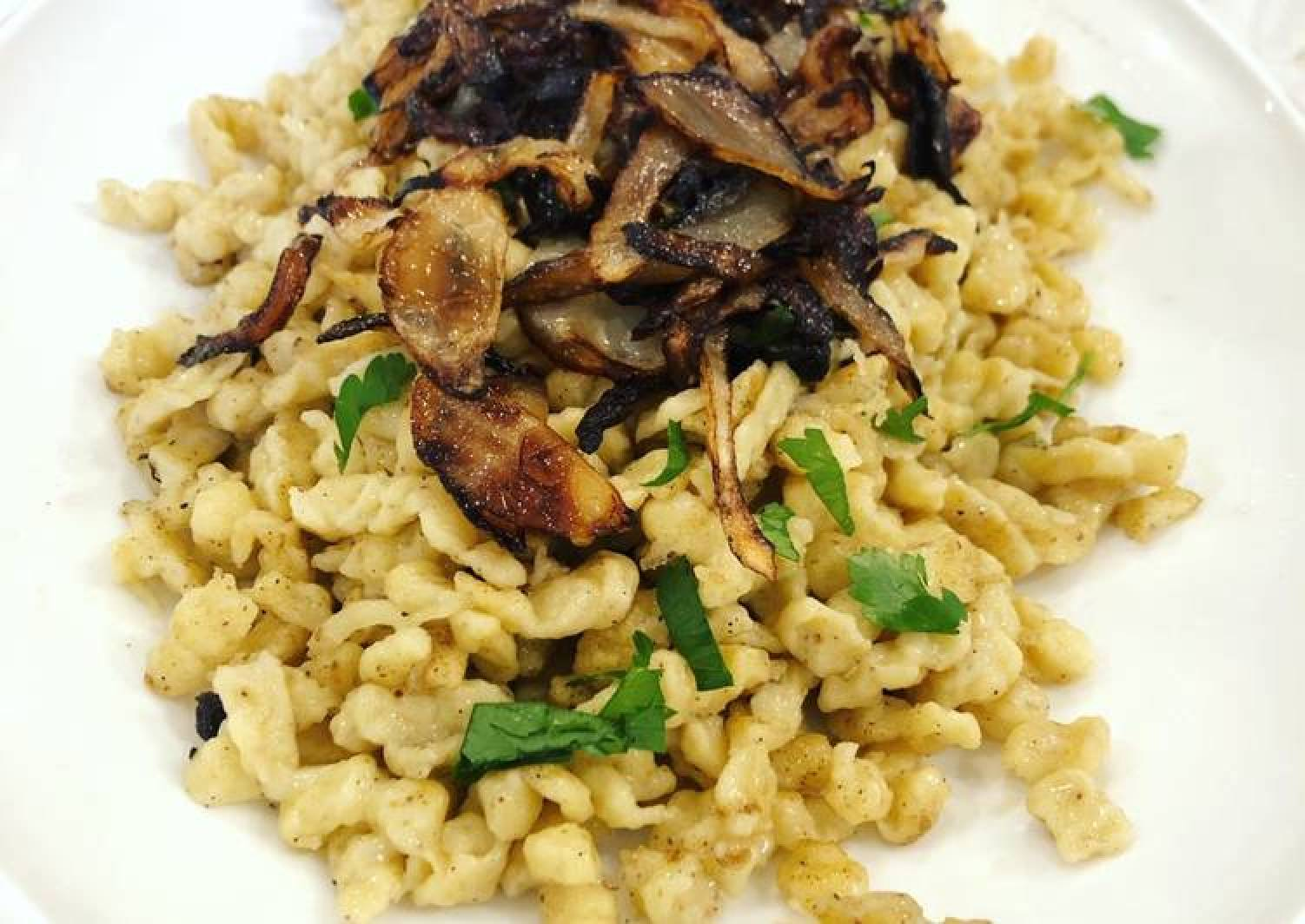 Spaetzle with Butter, Fried Onion, and Gruyere Cheese