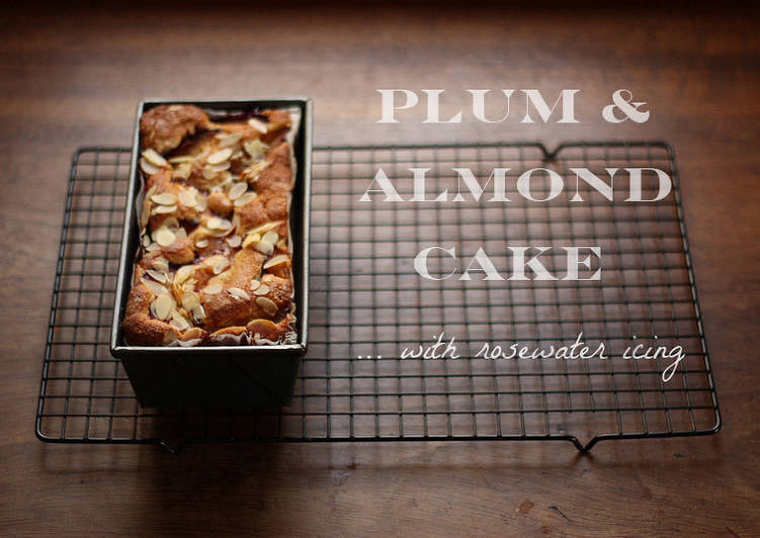 Plum & almond cake with rosewater icing
