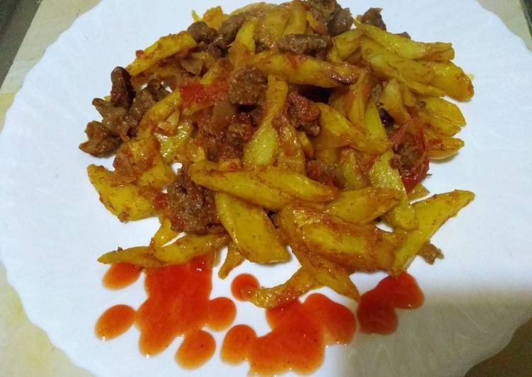 Potato chips with beef#valentines recipe