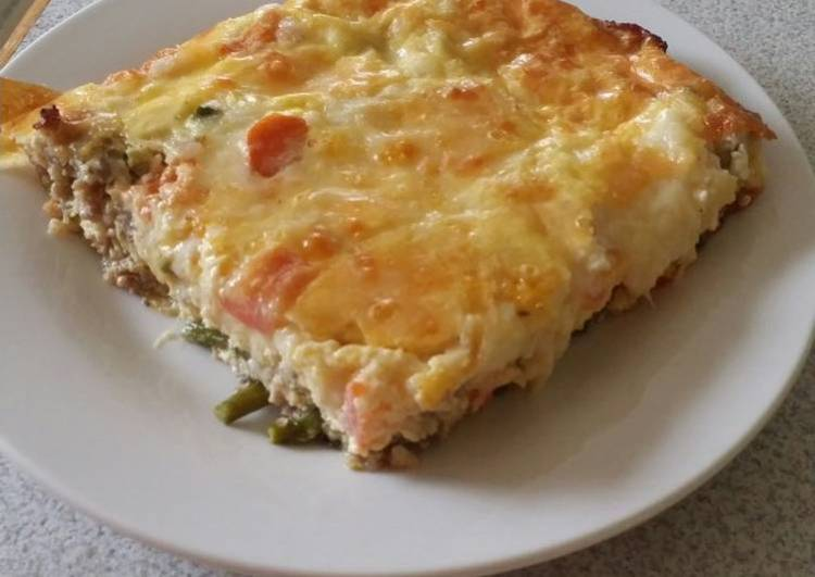 Brad's sausage and asparagus quiche