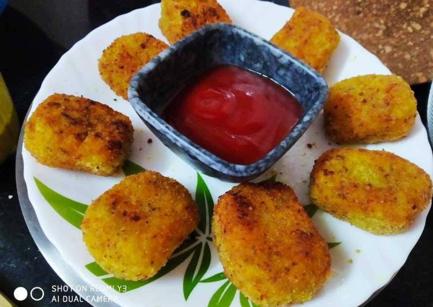 Leftover rice nuggets (veg)
