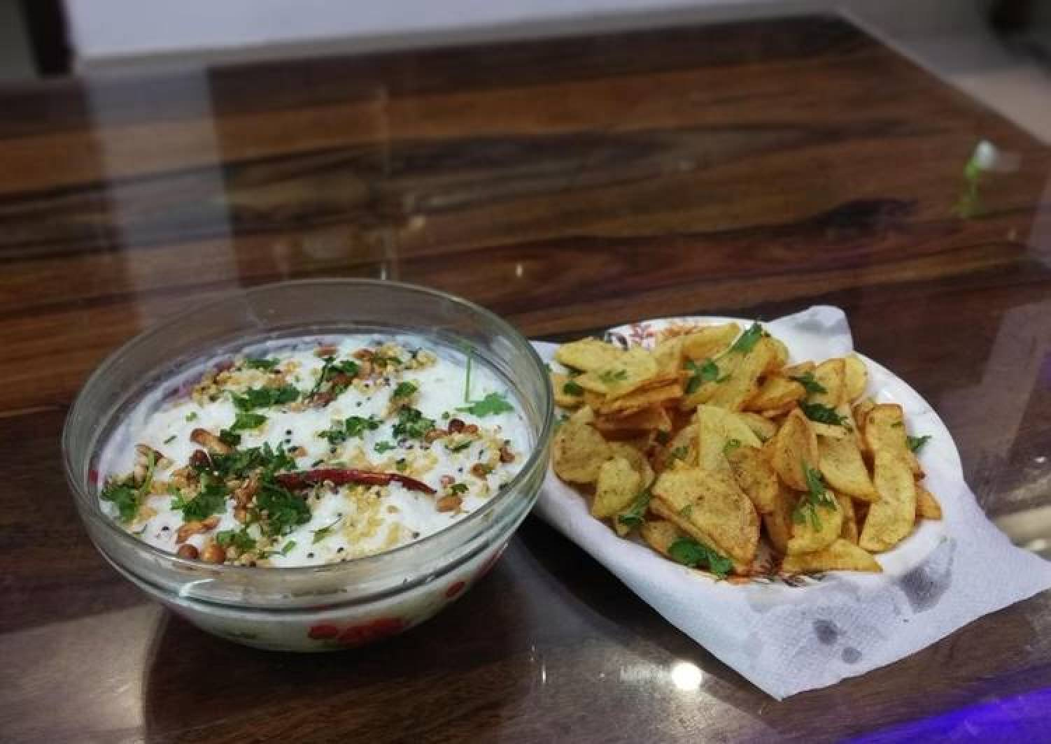 Curd rice and potato fries