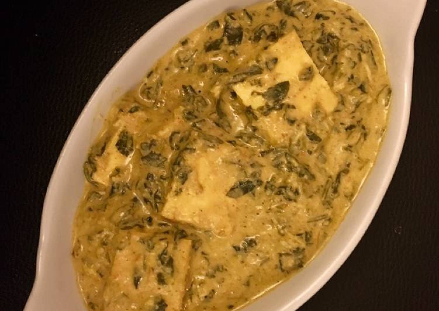 Fenugreek creamy paneer or methi malai paneer