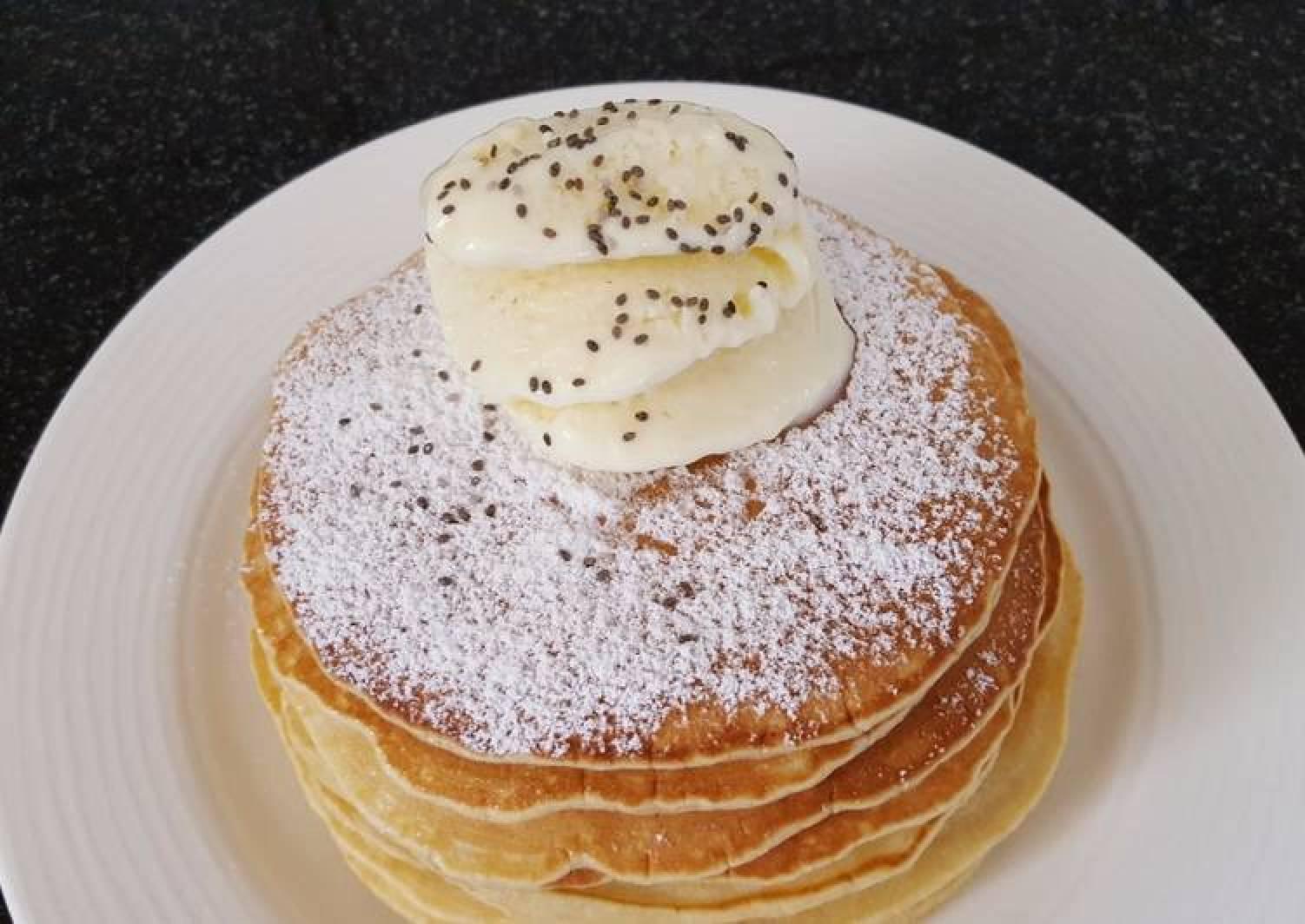 Pancakes with homemade ice cream