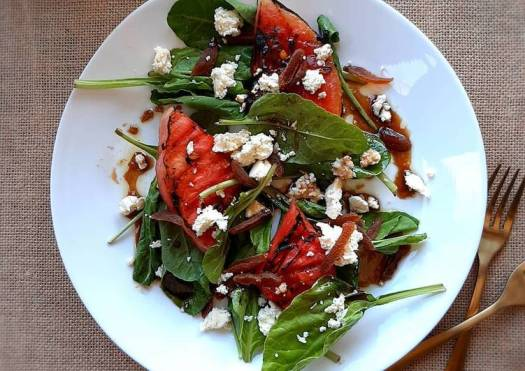 Grilled watermelon salad with honey balsamic vinaigrette