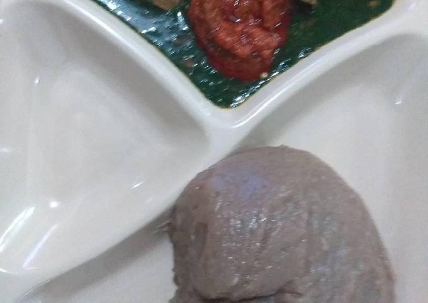 Amala, beans soup, ewedu and stew