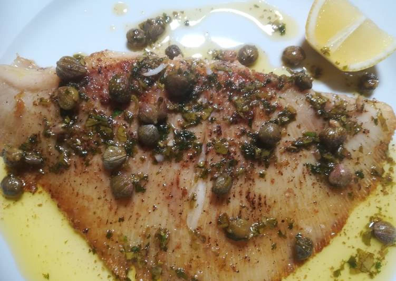 Skate wing with a brown butter and caper sauce