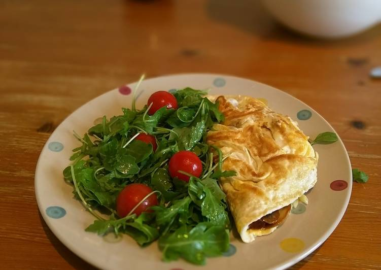 Coconut oil cheese and ham omelette