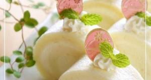 White Roll Cake with White Chocolate