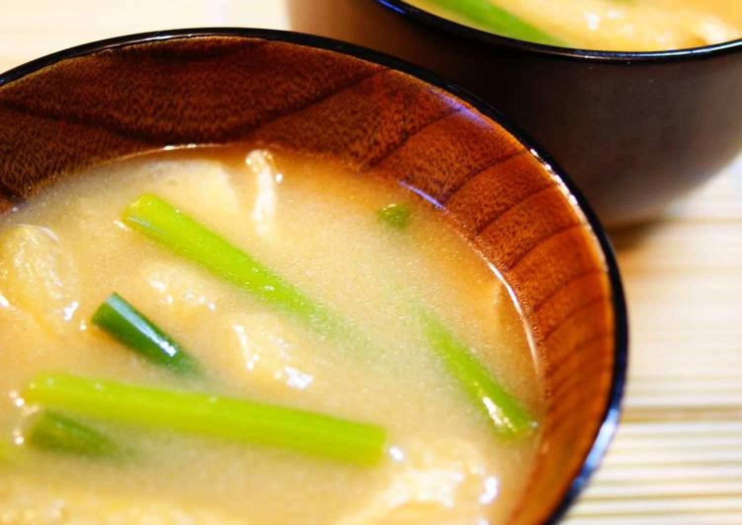 Garlic Shoot and Aburaage Miso Soup