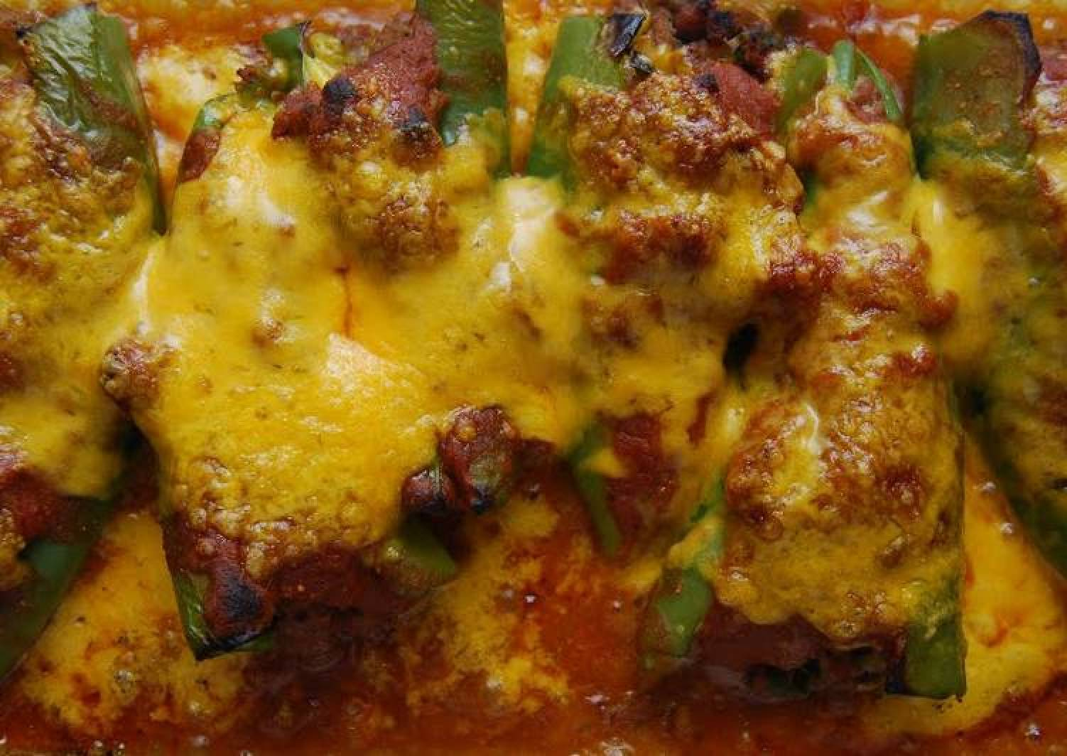 Baked Chiles Relleno w/Tortilla Enchilada Sauce