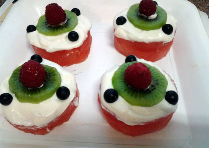 Ladybirds Watermelon Cup Cakes .