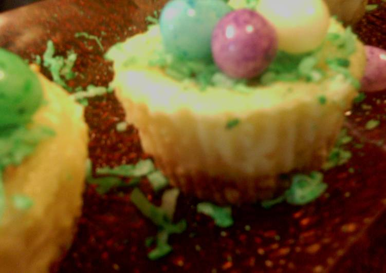 Easter white chocolate cheesecakes