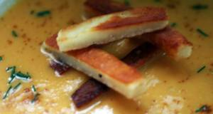 Sigs Onion and Sweet Potato Soup with Halloumi Chips