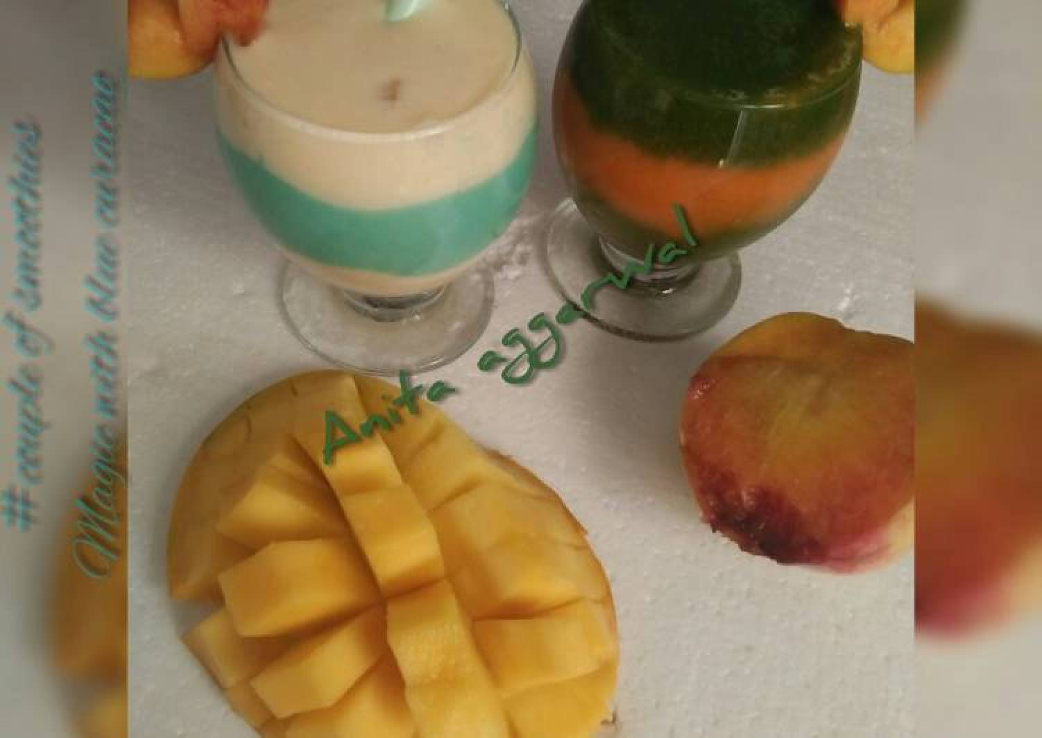 A couple of smoothies#magic with blue curacao syrup