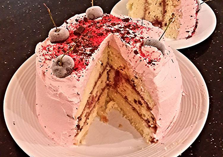 Vanilla Chip Layer Cake with Cherry Curd Filling