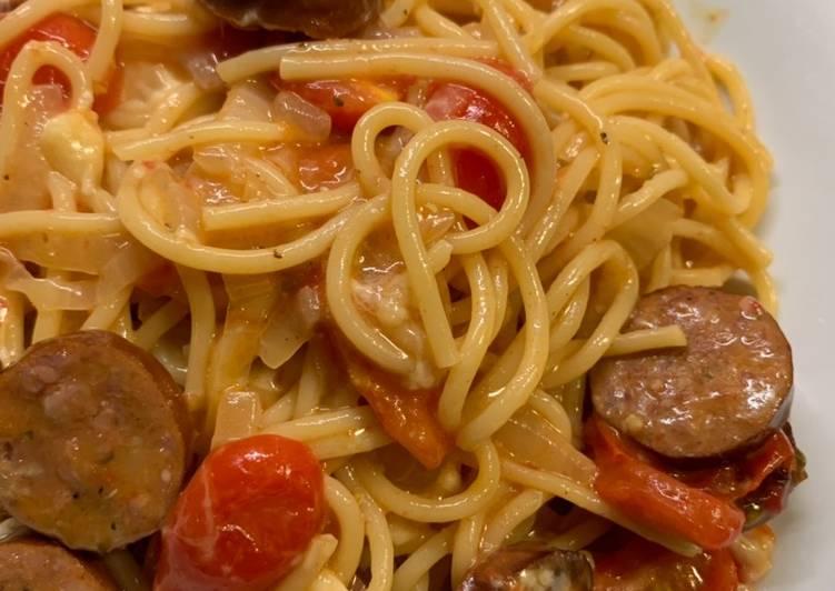 One pot cheesy andouille pasta