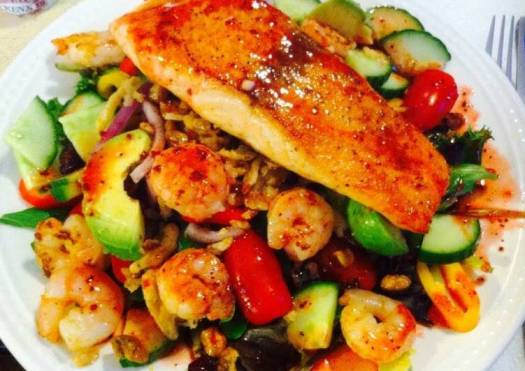 Salmon With Shrimp Cold Salad
