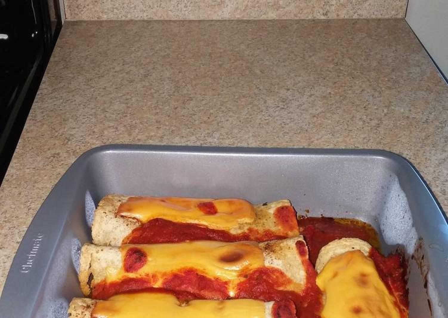 Shrimp spinach cream cheese Enchiladas