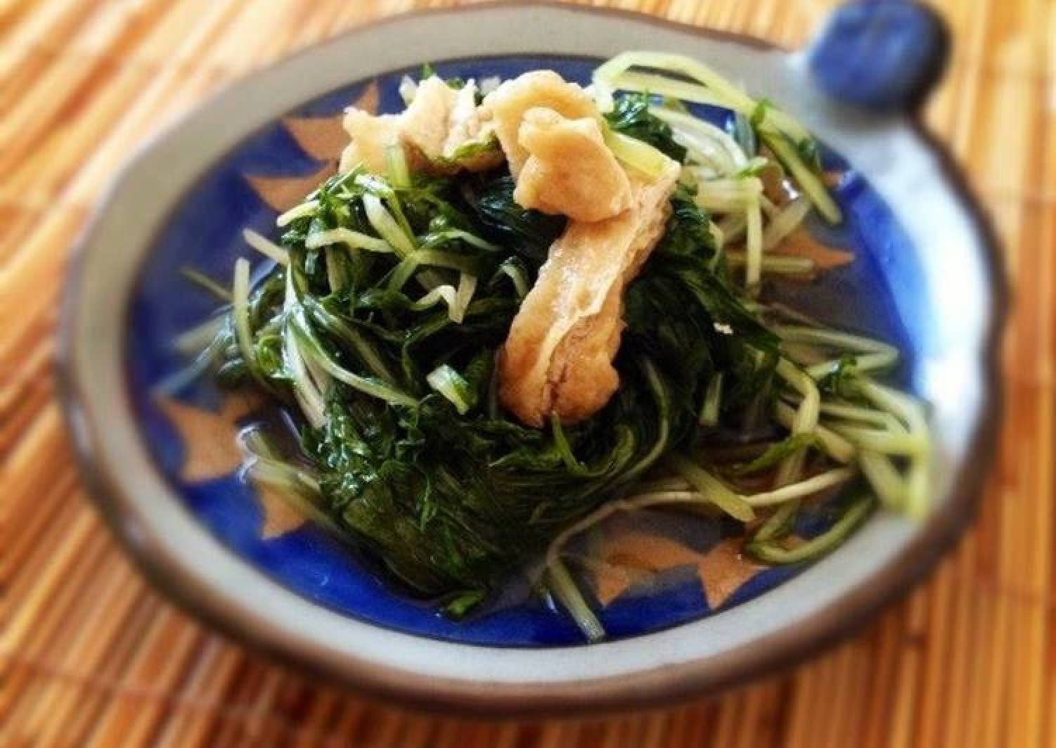 Simmered Mizuna and Aburaage in Sauce
