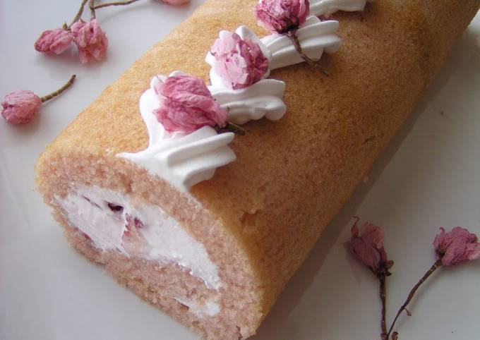 Waiting for Spring Sakura Swiss Roll (Egg- and Dairy-Free)