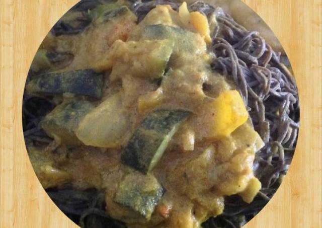 Veggie Curry over Black Bean Spaghetti