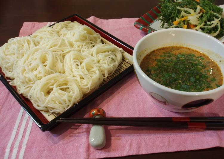 Dipped Somen Noodles In Sesame Dipping Sauce