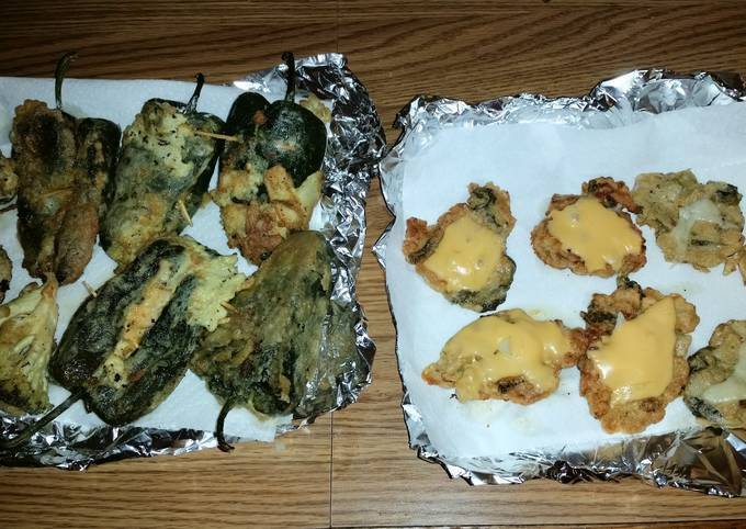 Easiest Way to Make Quick Stuffed poblano peppers with side meat cheddar patties