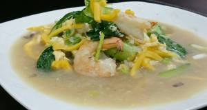 Shrimp And Choy Sum With Jackfruit In Egg Broth