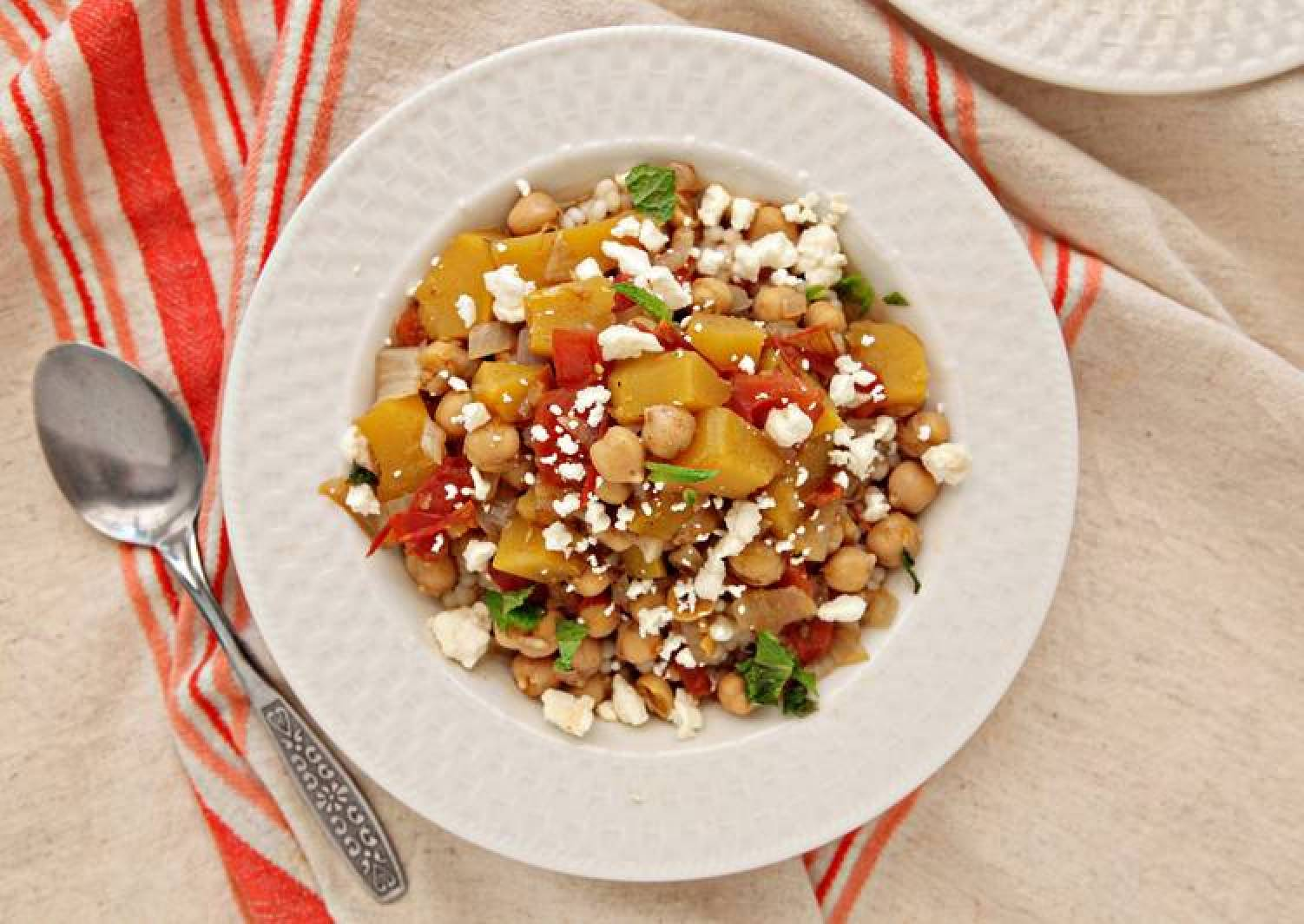 Acorn Squash and Chickpea Stew over Couscous with Feta and Mint