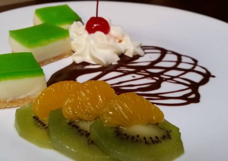 Lime Jelly slice with Biscuits Base