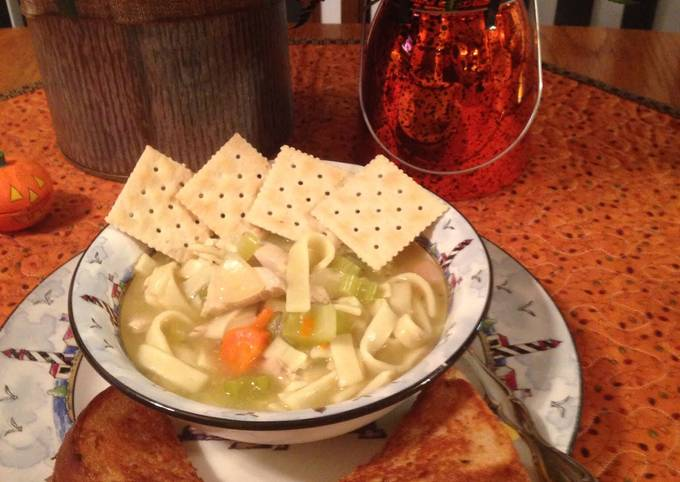 Simple Way to Prepare Perfect Chicken Noodle Soup With Grilled Cheese Jazzy Style