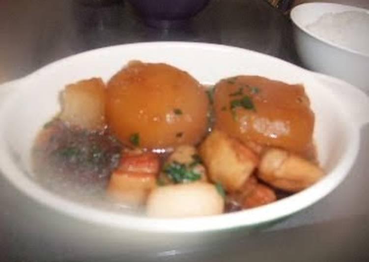 Simmered Daikon Radish and Pork Belly