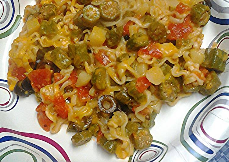 Okra noodles and cheese