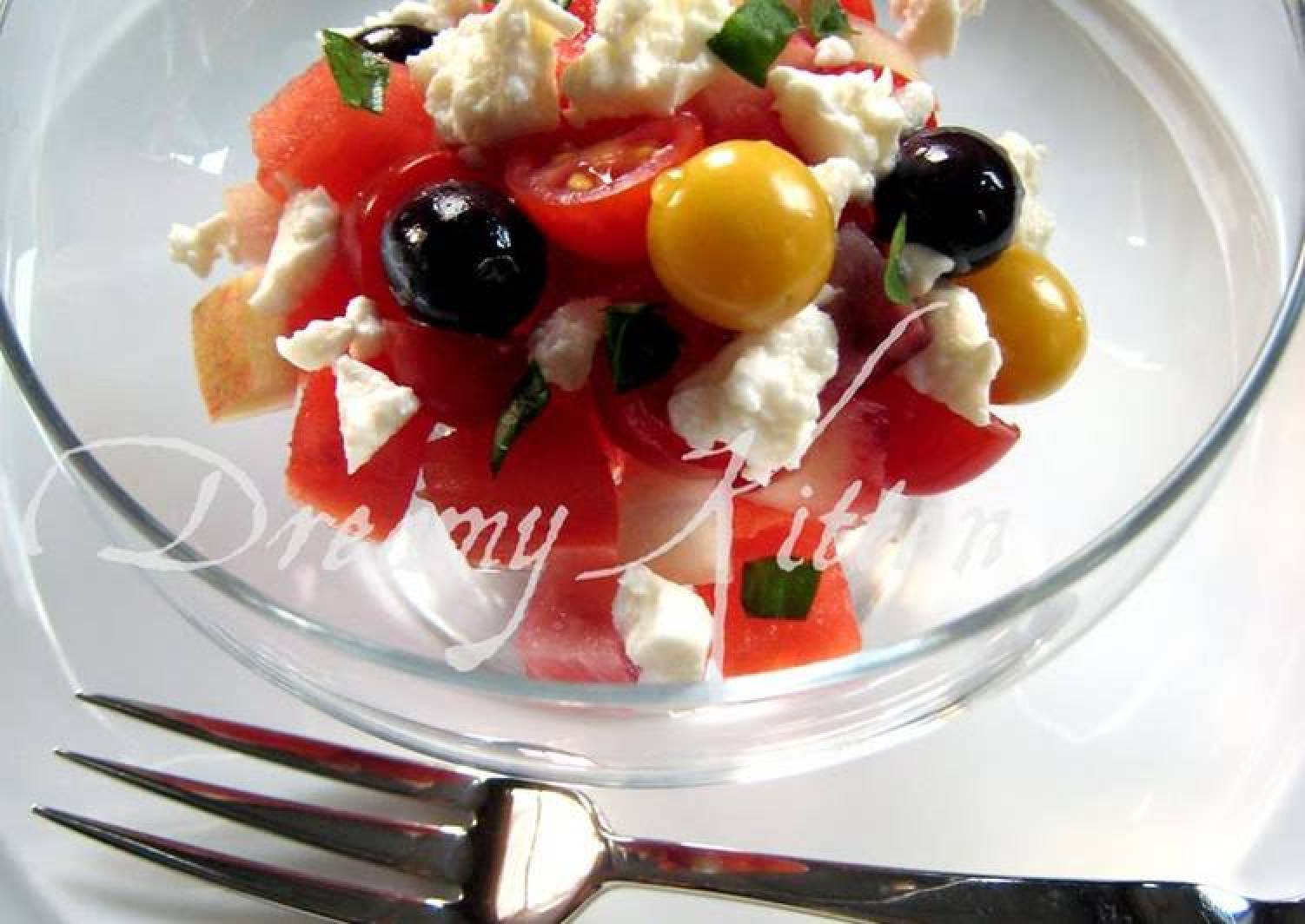 Watermelon, Peach, Tomato, and Feta Cheese Salad