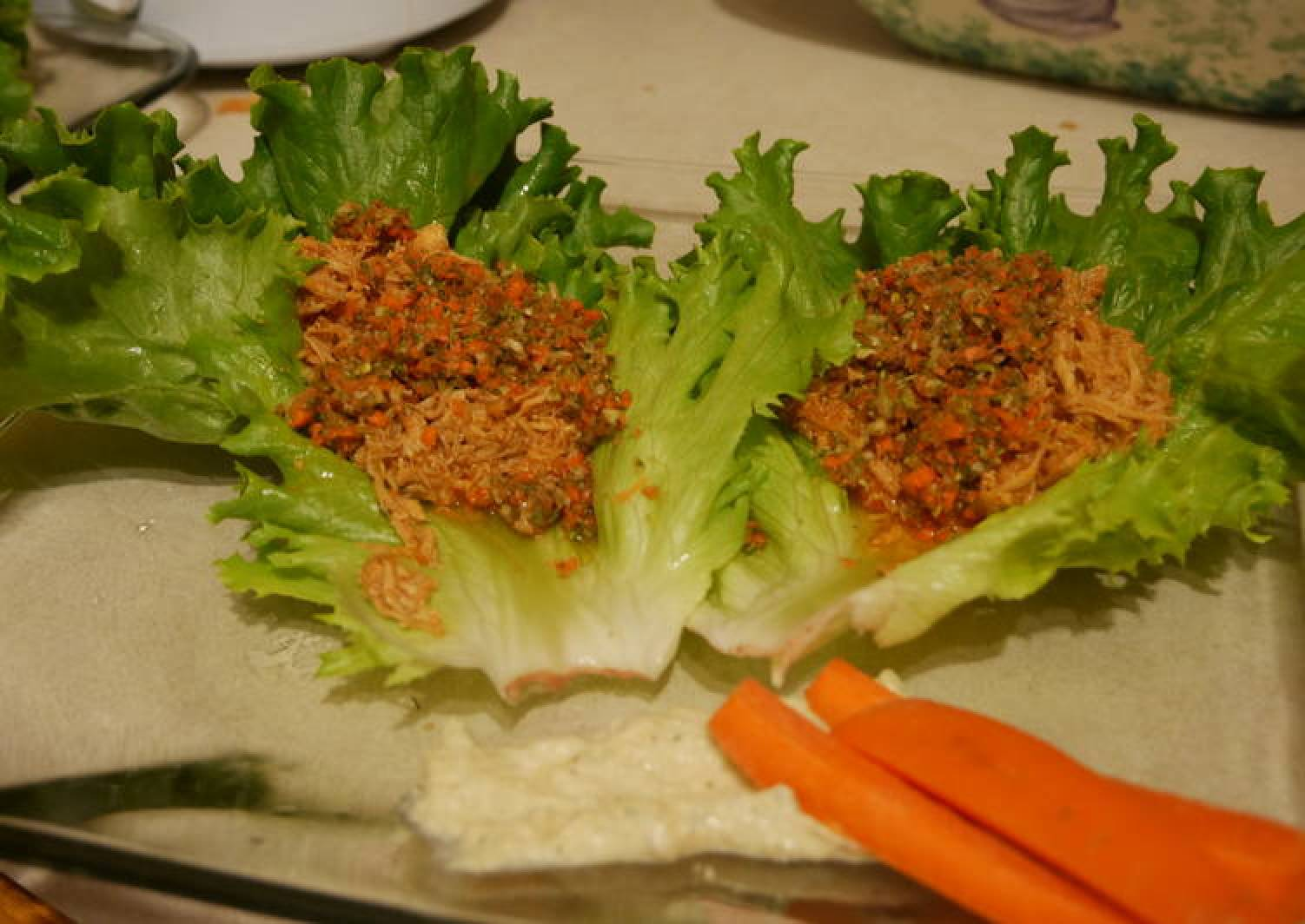 Buffalo Chicken Lettuce Wraps with Ranch Carrot Relish