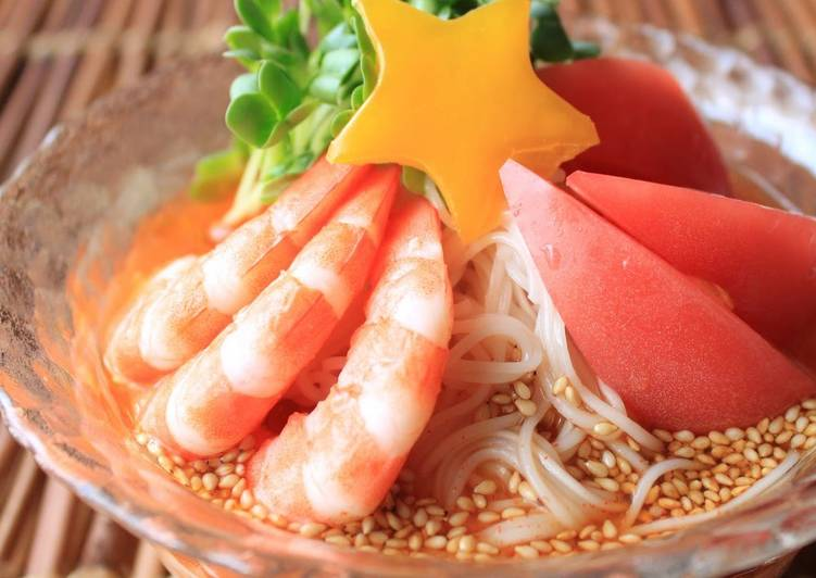 Qixi Star Festival Spicy Hot Somen Noodles with Prawns